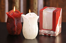 ROSE FLOWER OR ROSEBUD DECORATIVE CANDLE RED/CLARET/MAROON, WHITE, SILVER, GOLD