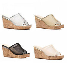 WOMENS PLATFORM WEDGE HEEL PEEP TOE SLIP ON MULES SANDALS LADIES SHOES SIZE 3-8