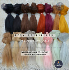 Wefted Mohair Straight Doll Hair Blythe BJD Monster Ever After High Wig Reroot