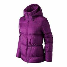 Womens Nike Down Padded Jacket Pink Winter Coat Warm Hooded Zip Up Size L Large