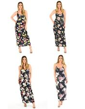 Womens Ladies Floral Printed Cami Strappy Lagenlook Maxi  Dress UK 8-22