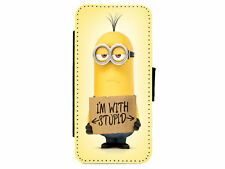 MINIONS - Im With Stupid - Leather Flip Phone Case Cover for iPhone Samsung D15