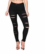 Parisian Womens High Waisted Skinny Jeans Jeggings Black Ripped UK 6 8 10 14