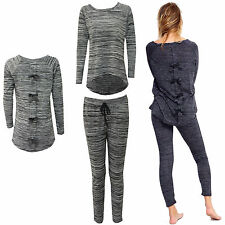 Ladies Womens Back Bow Tie Loungewear Hi Lo Two Piece Set Tracksuit Size 8-30