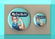 We Can Do It - Rosie the Riveter - Button Badge 2 Sizes - WW2 Land Army Feminist