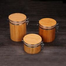 Natural Bamboo Storage Jars Wooden Sugar Tea Spices Containers Salt And Pepper