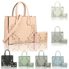 Women's Floral Studded Tote Hobo Shopper Handbag Crossbody Shoulder Bag + Purse