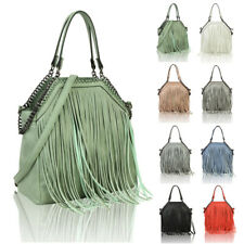 Women's Fringed Fashion Canvas Tote Hobo Shopper Handbag Crossbody Shoulder Bag