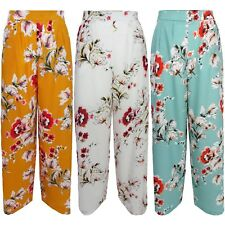 New Floral Print High Waisted Wide Leg Pocket Palazzo Pants Flare Crepe Trousers