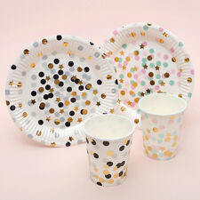 LK_ 10Pcs Dots Stars Paper Disposable One-Off Plate Cup Kids Party Tableware D
