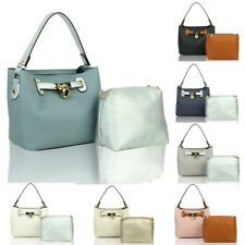 Women's Faux Leather Tote Hobo Shopper Crossbody Shoulder Handbag +Messenger Bag