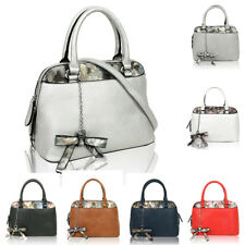 Women's Bow Ribbon Faux Leather Tote Hobo Shopper Handbag Crossbody Shoulder Bag