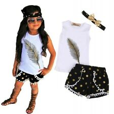 Little Girls Summer Sets 3Pcs Feather Clothing Set