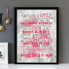 Guns N' Roses Sweet Child O Mine Stunning Framed Lyrics