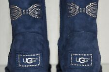 New UGG Uggs Classic Short SWAROVSKI CRYSTAL Bow Boots Navy Shoes 9 RARE