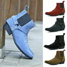 Mens Cowboy Ankle Suede Leather Boots Western Cuban Heel Pull on Shoes