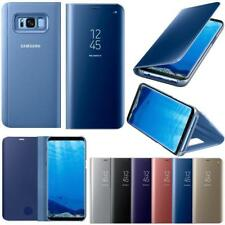 Mirror Leather Flip Stand Case Clear Smart View Samsung Galaxy S7 S8 Plus Note8