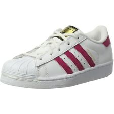 "adidas Originals Superstar C Blanc/""bold"" Rose En Cuir Junior Trainers"