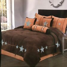 Rustic Brown Western Turquoise Star Comforter - 7 Piece Set