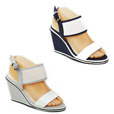 WOMENS STRAPPY WEDGE HEEL CUT OUT SLINGBACK SANDALS LADIES SHOES NEW SIZE 3-8