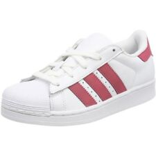 adidas Originals Superstar C Blanc/Rose Foncé En Cuir Junior Trainers
