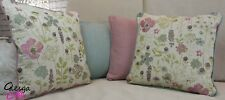 Wool Natural Linen Floral Cushion Covers Rose Pink Aqua 40x40cm Meadow Flowers