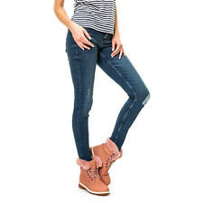 NEU Pieces Damen Jeans Distressed Denim Skinny Fit Damenhose Dark Wash