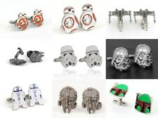 One Pair Silver Plated Cufflinks Star Wars, Superhero Pouch, Gift Box Father Man