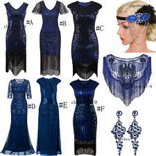 Blue Colour 1920s Flapper Dress Art Deco Evening Gowns Womens Clothing Plus Size
