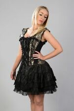 Steampunk Mini Dress in Black and Gold Brocade and Lace by Burleska
