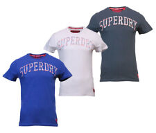 Superdry Mens New Varsity Embossed Short Sleeve T Shirt Navy Blue White