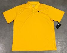 Nike Dri-Fit Active POLO NEGRO AMARILLO Golf Tenis Talla 2xl (ar1222-728)