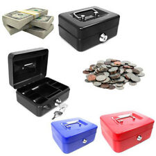 Petty Cash Money Deposit Safe Box Metal Steel Tin Security Box 2 keys & Tray