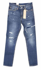 Levis 511 Jeans For Men's Ripped Slim Fit Non-stretch Denim Comeback Kid Blue