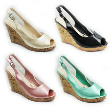 WOMENS PLATFORM CORK WEDGE HEEL PEEP TOE SLINGBACK SANDALS LADIES SHOES SIZE 3-8