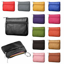 Women Men Leather Coin Card Holder Key Ring Wallet Small Pouch Mini Purse Bags