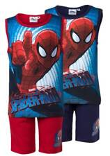 NEW Boys Ultimate Spiderman Shorts & Vest PJs Summer Outfit Beach Set Ages 3-8y