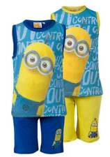 NEW Boys Minions Character Shorts & Vest PJs Summer Outfit Beach Set Ages 4-10y