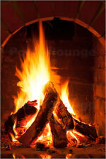 Poster, stampa su tela o vetro acrilico Wood in the fireplace