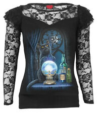 SPIRAL DIRECT THE WITCHES APRENTICE Lace Layered Long Sleeve Top/Cat/Goth/Gothic