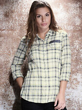 Harley-Davidson Women's Crinkle Button Front Shirt Cream Check 96235-16VW