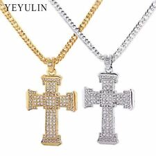 Trendy Alloy Silver Gold Color Full Crystal Cross Pendant Necklace