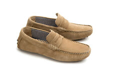 IKON Jenson Mens Slip On Leather Driving Shoes Taupe