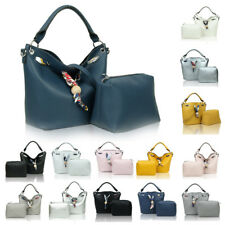 Women's Faux Leather Tote Hobo Shopper Handbag Crossbody Shoulder Bag + Purse