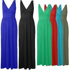 Womens Ladies V Neck Knot Strappy Plain Sleeveless Wrap Over Casual Maxi Dress