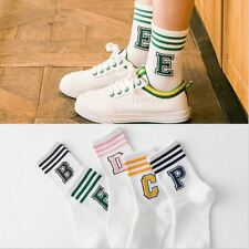Letter & Stripe Pattern Cotton Sock Casual Female Socks Couples Cute Style Short