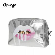 Bling Silver Lip PU Leather Toiletries Bag Zipper Pouch Portable Travel Cosmetic