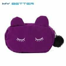 Cute Cat Hairball Zipper Cosmetic Bag Pouch Travel Toiletry Storage Women Makeup