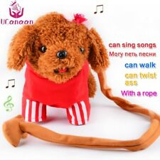 Electronic Plush Walking Dog Interactive Puppy Sound Interactive Toy Soft W Rope