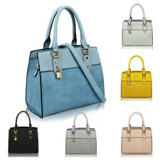 Women's Padlock Detail Large Tote Hobo Handbag Shopper Crossbody Shoulder Bag